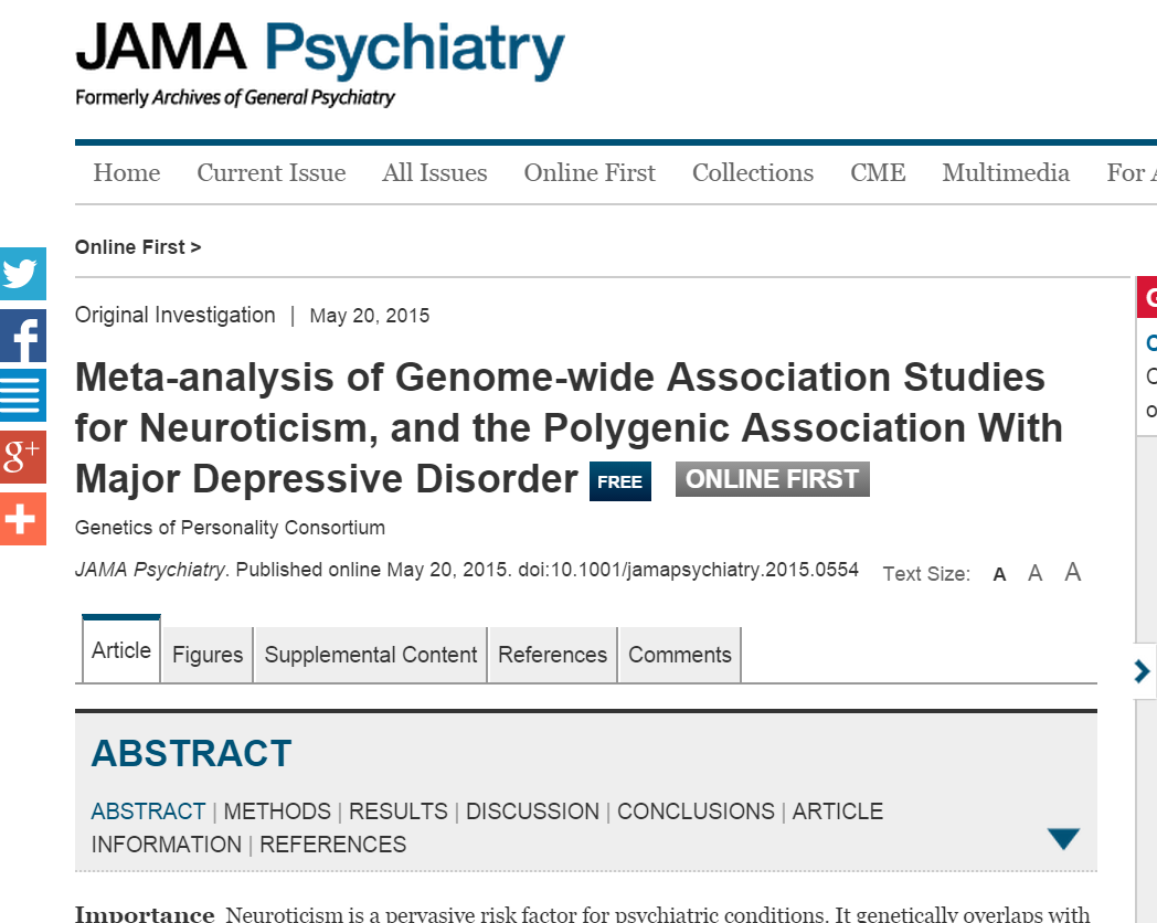 Meta-analysis of Genome-wide Association Studies for Neuroticism, and the Polygenic Association With Major Depressive Disorder