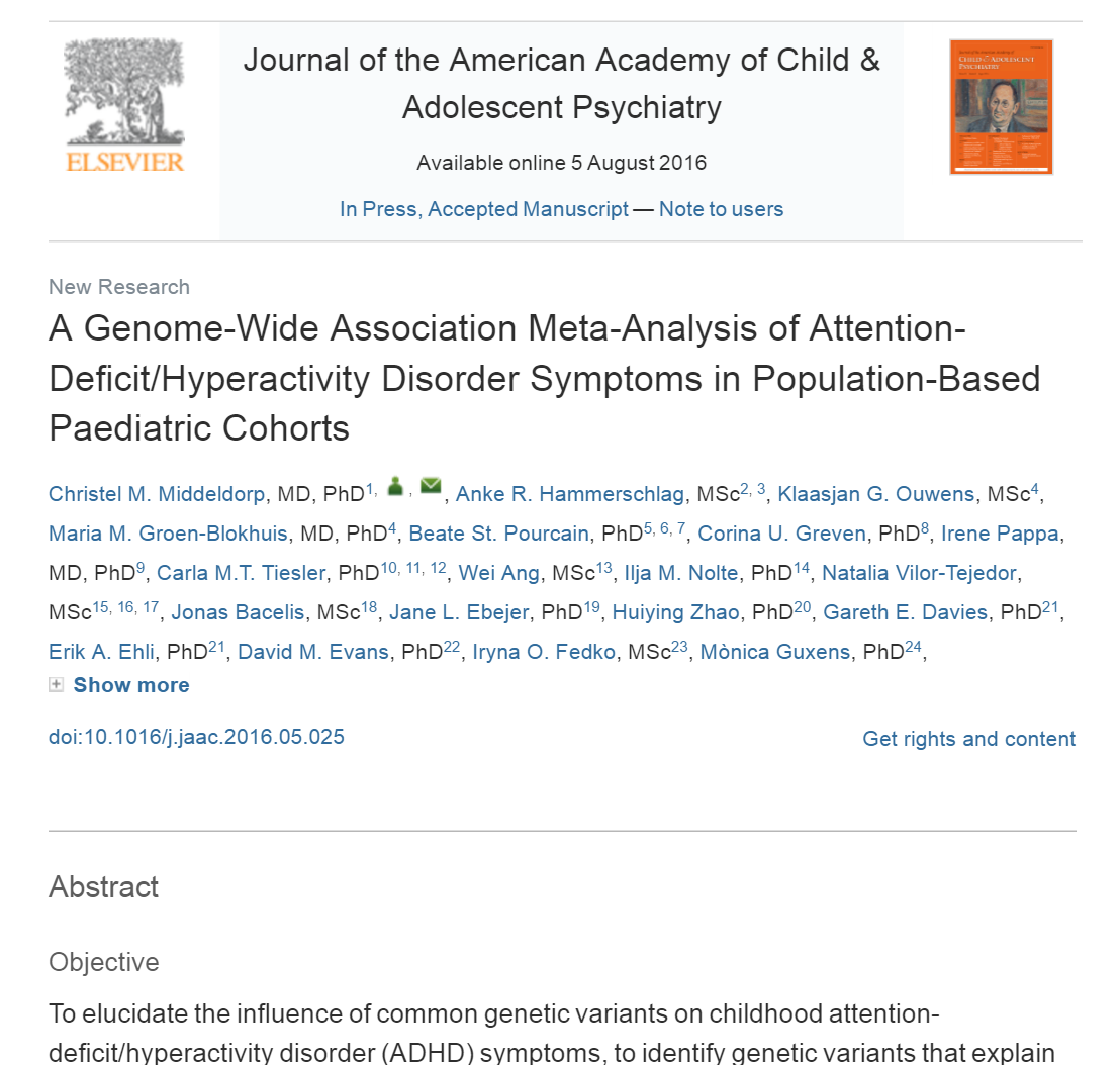 A Genome-Wide Association Meta-Analysis of Attention-Deficit/Hyperactivity Disorder Symptoms in Population-Based Paediatric Cohorts